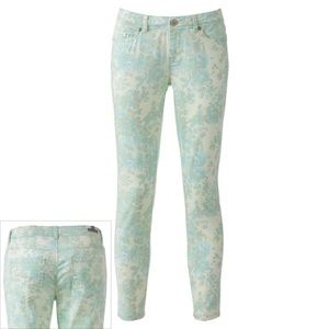 LC Lauren Conrad pastel floral skinny jeans